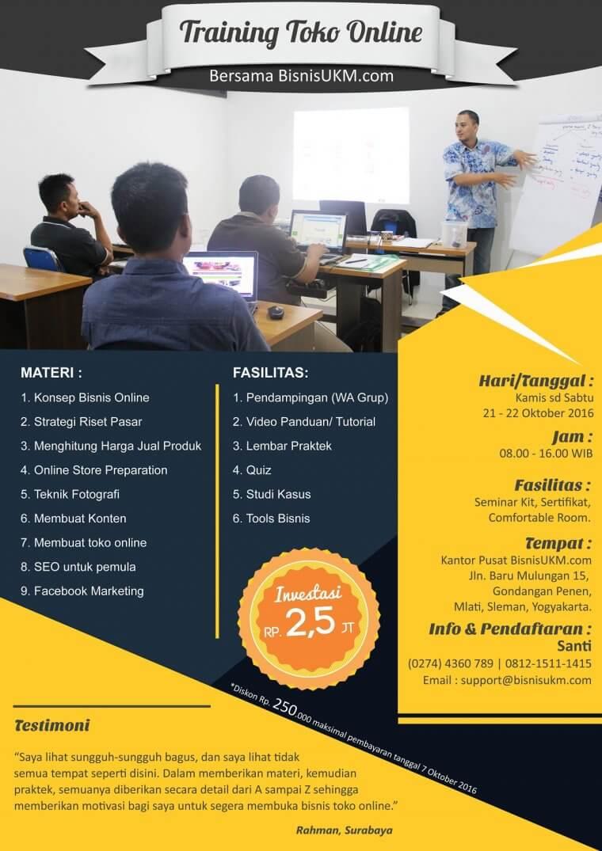 Jadwal training toko online oktober 2016